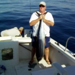 big wahoo est. 70lbs caught on a ballyhoo May 2010 Cabo